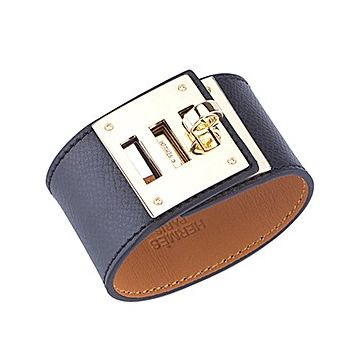 Hermes Kelly Dog Brass Turnlock Black Leather Wide Bracelet Unique Style For Sale Unisex