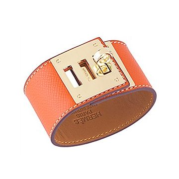 Fake Hermes Lady Kelly Dog Orange Wide Leather Bracelet Brass Hardware Online Shop Paris Review