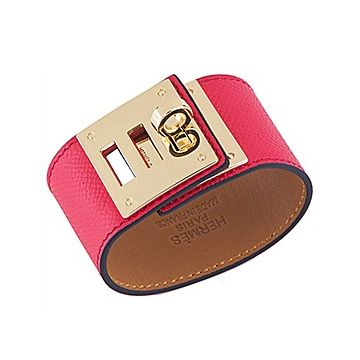 Hermes Women's Kelly Dog Brass Rotating Buckle Red Leather Bracelet Fashion Party Celebrity Australia H072970CC53T2