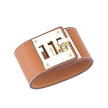 Hermes Kelly Dog Brass Hardware Tan Leather Wide Bracelet Good Review For Women NYC