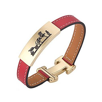 Hot Sale Hermes Red Leather Bracelet Logo Carved Yellow Gold-plated H Shaped Clasp Couple Style