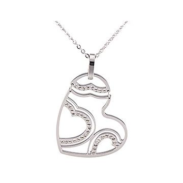 Clone Cartier Silver Heart Pendant Inlaid Diamonds 2018 Street Fashion Hollow Necklace Online Paris Women