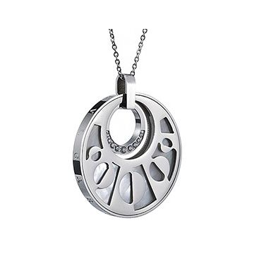 Bvlgari Personalized Silver Chain Necklace Round Pendant Studded Crystals Modern Style 2018 For Sale UK
