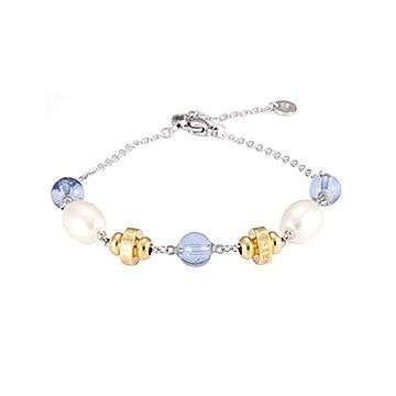 Bvlgari Bvlgari Silver Chain Bracelet White Pearls Blue Crystals Gold-plated Decors Sale Malaysia Women