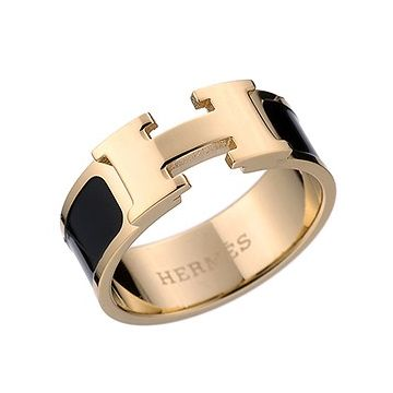 Hermes Clic H Black Enamel Gold-plated Ring Sale For Unisex Vogue Sales Sydney