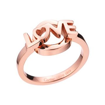 Copy Cartier Women's Rose Gold-plated Love Letter With Circle Ring Cocktail Party Paris For Sale