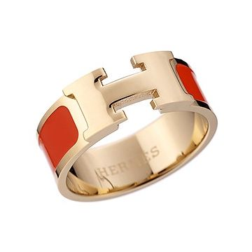 Fake Hermes Clic H Yellow Gold-plated Orange Enamel Engraved Ring Celebrity Women 2018 Price Malaysia