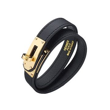 Hermes Kelly Double Tour Yellow Gold Plated Turnlock Black Leather Bracelet On Sale Couple Style