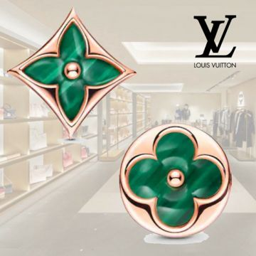 Louis Vuitton Color Blossom New Style Woemn BB Sun & Star Monogram Flower Charm Malachite Stud Earrings White Gold/Yellow Gold/Rose Gold