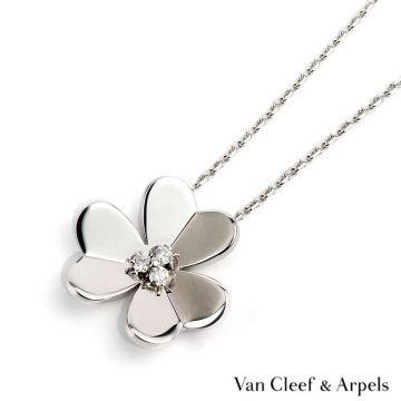 Van Cleef & Arpels Frivole Silver-plated Flower Motif Pendant Large Model Diamonds Necklace For Ladies Wedding Jewellery VCARD25300