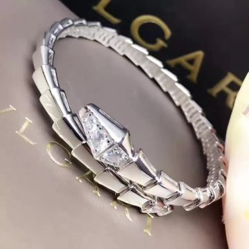 Bvlgari Imitation Serpenti Snake Design Silver-plated Bangle Studded Diamonds Celebrity Style Red Carpet NYC