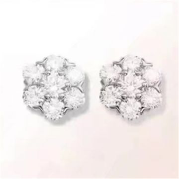 2018 Lady Fake VCA Floral Fleurette Gorgeous Snowflake Ear-stud Silver Paved Diamonds Party Online VCARA48100
