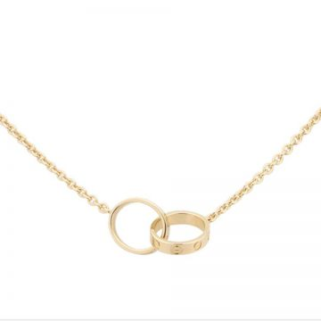 Cartier Love Yellow Gold-plated Stylish Necklace Two Circle Charm With Screw Detail Unisex Singapore Price B7212400