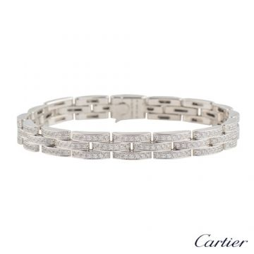 Cartier Maillon Panthere 3 Diamond-paved Rows Female 925 Sterling Silver Bracelet Fashion Jewellery N6701000 Replica