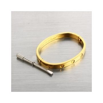 Top Sale Imitation Cartier Love Yellow Gold-plated Bangle With Silver Screwdriver Screw Detail For Women & Men