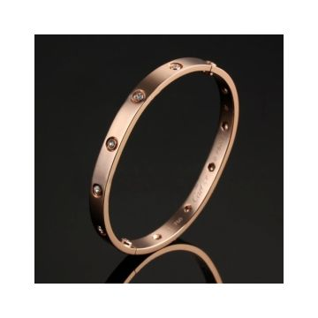 Cartier Knockoff Love Rose Gold Color Bangle Engraved Crystals Valentine Gift Online Shop India