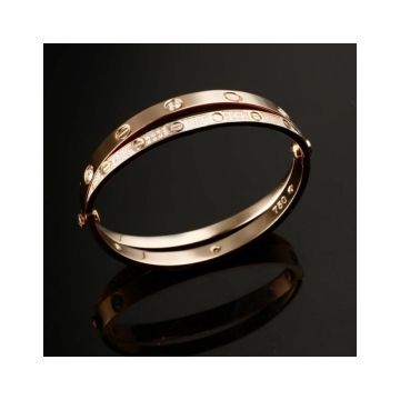 Cartier Love Women's Rose Gold-plated Crystals Engraved Double Bangle Screw Motif Price In Malaysia