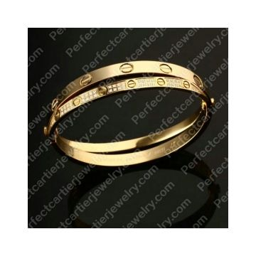 Cheapest Cartier Love Yellow Gold Plated Bracelet Most Quality Diamonds Double Bangle Link