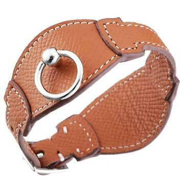 Wholesale Hermes Tan Leather Bangle Silver Plated Hardware Clasp Retro Style Birthday Gift Paris