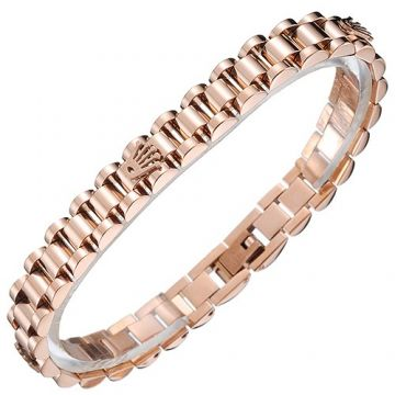 Rolex Copy President Rose Gold-plated Chain Narrow Bracelet Inlaid Logo Street Fashion Sale Malaysia Men