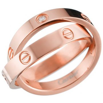 Phony Cartier Spicy Love Rose Gold-plated Double Diamonds Ring Screw Motif Elegant Style Sale Women B4215600