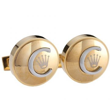 Replica Rolex Yellow Gold-plated Cufflinks Crown Symbol Silver C Decoration Men Fashion Party Price India