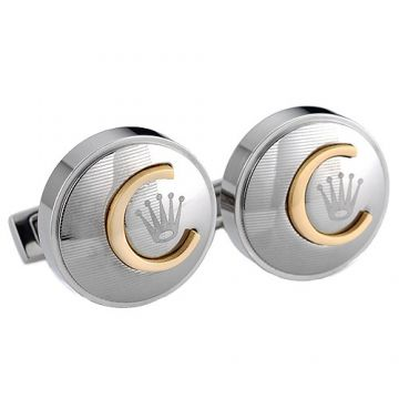 Rolex Silver Cufflinks Men Gold-plated C Logo Crown Detail Sale India 2018 Newest Office Style