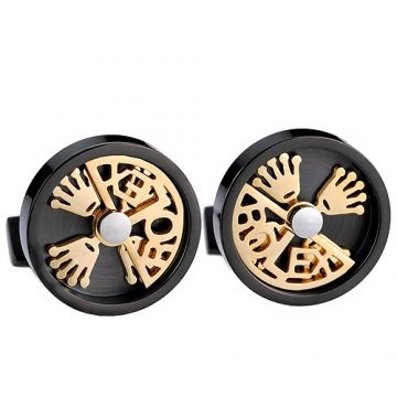 Rolex Black Cufflinks Gold-plated Hollow Crown Logo Fashion Design Fake Sale For Men White Shirt