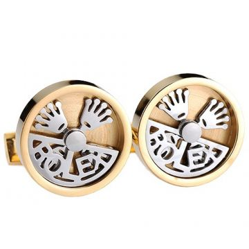 Elegant Rolex Gold & Silver Round Men Cufflinks Hollow-out Style Crown Symbol Formal Meeting Price UK