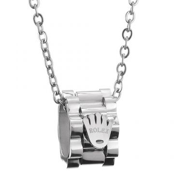 Rolex Replica Silver Three-row Gear Pendant Studded Crown Logo Chain Necklace Unisex Review Paris