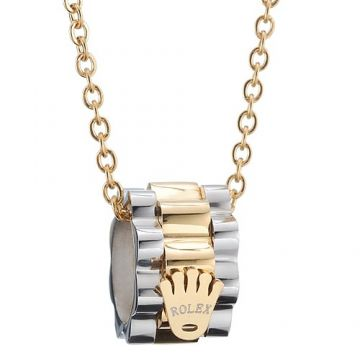 Rolex Silver & Gold Two-tone Pendant Necklace Gear Sculpt Crown Logo Street Fashion Couple Style London