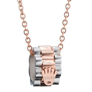 Rolex Silver And Rose Gold Color Crown Symbol Chain Necklace Dubai Review Women & Men