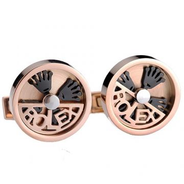 Rolex Fashion Rose Gold-plated Round Cufflinks Black Crown Logo Price In India Men Gift