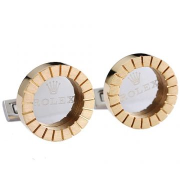 Clone Rolex Gold And Silver Cufflinks With Stripe Round Shape Couple Style On Sale Las Vegas