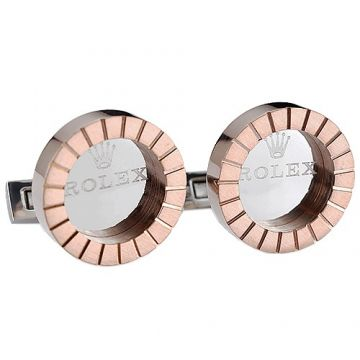 Rolex Rose Gold-plated Round Cufflinks Silver Adorned Elegant Style Price List Canada Unisex