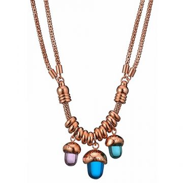 Vintage Bvlgari Two Chain Rose Gold-Plated Charm Necklace Blue/Purple Crystals Fashion Party Price Singapore Women