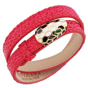 Bvlgari Serpenti Red Leather Bracelet White/Black Enamel Snake Head Sexy Style For Lady USA Replica