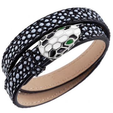 Bvlgari Serpenti Bracelet Black Leather With White Black Enamel Decked Unique Style For Men Price