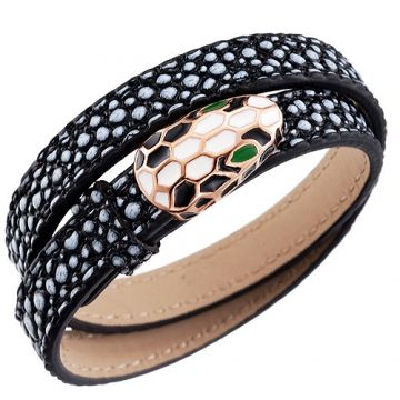 Wholesale Bvlgari Serpenti Bracelet Rose Gold-plated Snake Head Edge Black Leather Price In Australia Lady