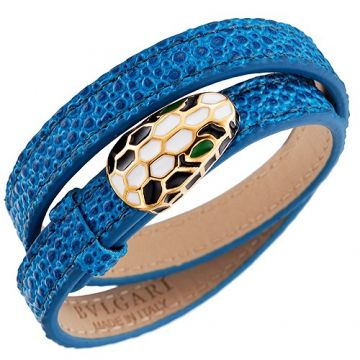 Bvlgari Serpenti Blue Leather Bracelet Colorful Party White Green Black Enamel Studded Girls Malaysia Price