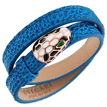 Bvlgari Serpenti Rose Gold Decked Blue Leather Bracelet Snake Head 2018 Street Fashion Women NYC