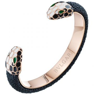 Best Sale Bvlgari Serpenti Forever Black Leather Double Rose-Gold Hardware Open Cuff Bracelet
