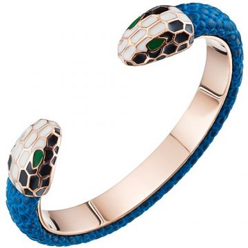 Clone Bvlgari Serpenti Blue Leather Decked Rose Gold-plated Cuff Bangle Double Snake Head Sexy Women UK