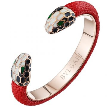 Bvlgari Serpenti Red Leather Cuff Unique Bangle White Black Green Enamel Decked Celebrities US Price