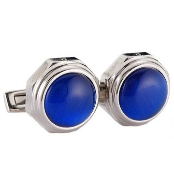 Santos De Cartier Men Silver Cufflinks Blue Face With Logo Handsome Style On Sale Malaysia