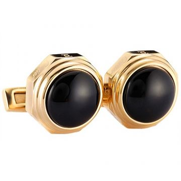 Santos De Cartier Copy Gold-plated Black Cufflinks Fashion Party For Men Valentine Gift Sale Paris