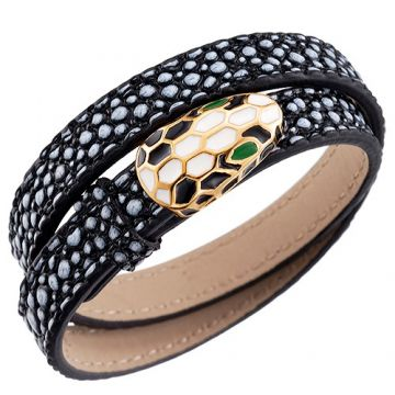 Fake Bvlgari Serpenti Black & White Leather Bracelet Gold-plated Edge Twice Price France For Women/Men