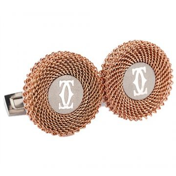 Fake Cartier Double C Logo Rose Decor 316L Steel Round Mesh Cufflinks Businessmen US Price