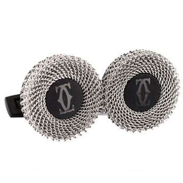 Cartier Double C Logo Rose Decor Silver Mesh Black Men Cufflinks Cool Style Malaysia Sale