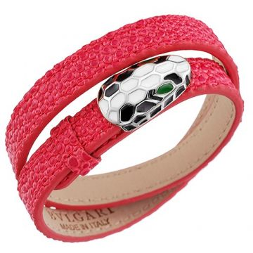 Imitation Bvlgari Serpenti Red Leather Bracelet Silver Decked Green White Enamel Price In Malaysia Lady